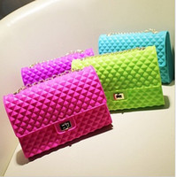 Wholesale 2013 New Women s Shoulder Bag Candy Colored Silicone Jelly Chain Bag Beach Bags Messenger Bags