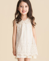 2013 Girls Dresses Children Sweet Pearl Collar Lace Vest Dre...