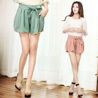 Wholesale New Women GirlFashion Lace Hem Leisure Shorts Bandwidth Bow Shorts Pant