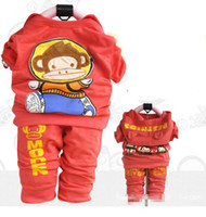 Wholesale Cute Baby Boys Girls Spring Side Red Short Sleeve Monkey Kids Set Shirt Pants Child Set Children Clothing
