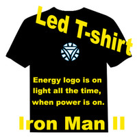 Wholesale Good Quality Iron Man Iron Man II The Avengers Manual control led t shirt Sound Activated EL T shirt Equalizer T shirt EF231