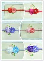 Wholesale mini rose with satin ribbon flower pearl center Baby Elastic headband