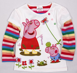 Wholesale F2535 hot sell peppa pig embroidery girl long sleeve white purple spring autumn cotton T shirt
