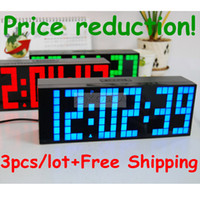 Alarm Clocks Digital Red,White,Blue and Green HOT!3pcs lot Large Jumbo LED Digital Calendar 2013 Temperature Wall Table&Desk Alarm Luminous Silent Watch Clocks Display Weather Station