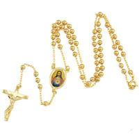 Refroidir 18k pendentif en or jaune collier croix chaîne de Jésus 19.6inch des hommes fidèles
