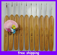Wholesale 10 Sizes Carbonize Bamboo Crochet Hooks Knitting Needles Weave Craft Single Pointed Knitting Needles