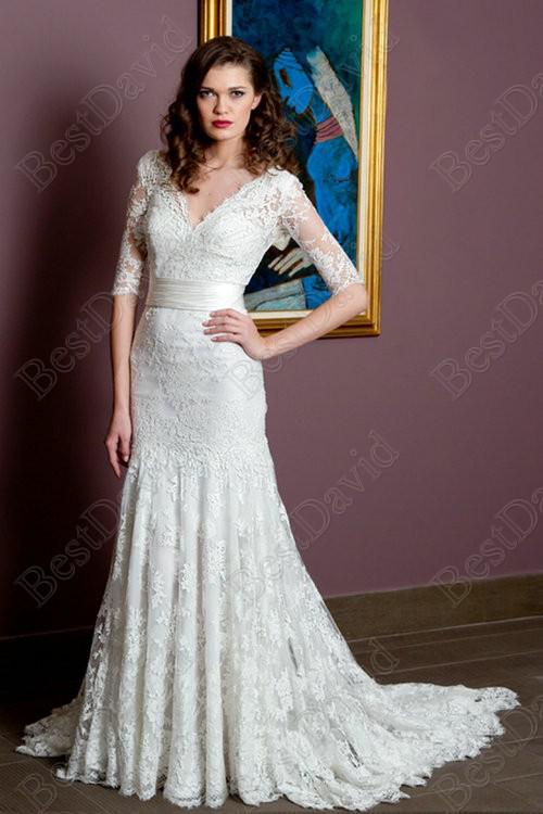 Cheap Lace Half Sleeves Mermaid Wedding Dress 2013 Customized ...