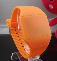 Wholesale New arrival Touch LED watch Unisex colors Colorful Plastic Face Silicone Watch Soft Bands