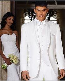 Custom Made White Groom Tuxedos Shawl Collar Groomsmen Men Wedding Suits(Jacket+Pants+Tie+Vest)H341