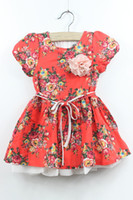 Wholesale Kids Floral Dress Children Baby Girl printed rosette D flower summer cotton red dresses