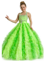 Reference Images Girl Ruffle Wow Screaming!!Fatastic Spahetti Ball-gown Ruffle Crystal Prom Pageant Flower Girls Dresses