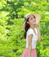 Wholesale Summer Sun Hat Lady Hollow Out With Bowknot Mix color New Arrvial E1