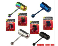 Wholesale 10pcs Vibrating TONGUE Ring Piercing Barbell Body Jewelry Rainbow Vibe Bell Powerful tounge ring