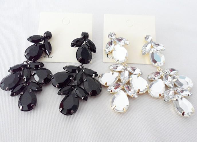New Black White Cz Crystal Flower Drop Earrings Star Jewelry PY1 ...