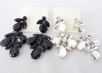 Wholesale New Black White Cz Crystal Flower Drop Earrings Star Jewelry Pairs PY1