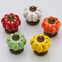 Wholesale 10pcs mm Colorful Pumpkin Furniture Cabinet Drawer Pull Handle Kitchen Door Wardrobe Ceramic Knobs