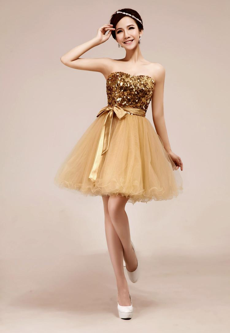 Hot Sale Sweetheart Shining Gold Sequins Sash Sexy Short Mini Prom ...