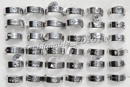 36pcs mix pattern wire cut Smooth Stainless Steel rings 17-22mm Jewelry Fashion #Rs2