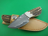 Wholesale Mini fixed blade Damascus high quality outdoor camping hunting knife HRC
