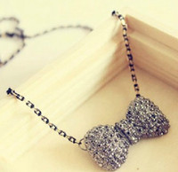 Wholesale vintage Crystal Necklaces Bow Tie pendants lovely chains charm Gift cheap men women fashion jewelry