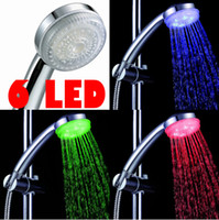 Stainless Steel Polished Exposed Shower Spray Head LED sensor Hand Shower Nozzle Automatic No Power Temperature Control Hand Shower H