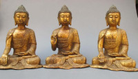 Wholesale Tibet Buddhist Temple Hall Bronze three Sakyamuni Buddha statue set