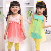 Wholesale 2013 girls tops set baby set Sweet candy yarn t shirt set baby clothing APR40