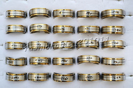 FREE 2-Layer Turnable 50pcs Mixed Cut Stainless steel Silver-Gold Tone Rings New Fashion Jewelry