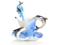 Wholesale Fashionable Enamel Dolphin Porpoise Coffee set including coffee mug Saucer and spoon