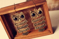 Wholesale vitage bronze owl earring Big animal Earrings large fashion jewelry Creativel gift stud cheap