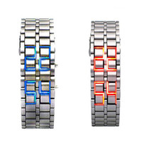 Wholesale Silver Digital Red Blue LED Lava Wrist Watch Iron Metal Samurai Men s Women sLovers watch