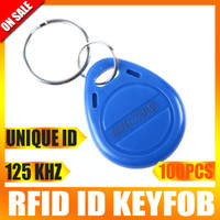 Wholesale 100pcs RFID Proximity Unique ID Token Tag Key Ring Khz Blue Keyfob