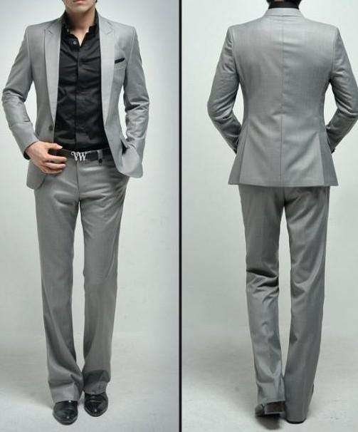 One Button Light Grey Groom Tuxedos Peak Groomsmen Men Wedding ...