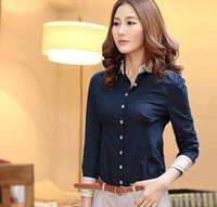 women's polo shirts - 2013 NEW Korean Summer Women s shirts polo collar long sleeve shirts slim women shirt black