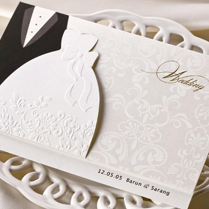 Stylish Bride &Amp; Groom Dress Gown Invitation Cards Wedding ...