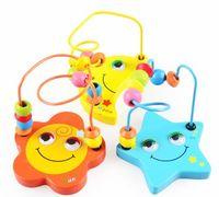 14*9.5*9.5cm wooden coaster - Sun moon stars Classic Bead Maze Wooden Bead amp Wire Maze Roller Coaster PreSchool Educational Toys