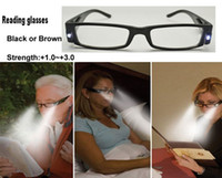 Wholesale Fashion strength black LED Reading Glasses LED reader eyeglasses flash light reading glasses
