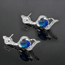 Women Oval Blue Sapphire Stones Dangle Real S925 Sterling Silver Earrings MNS E085BS