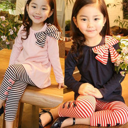 Wholesale Girl s long sleeve stripe Butterfly knot T shirt Girl stripe Butterfly knot Leggings spring and autumn new pink blue two piece Set