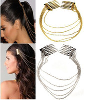 Wholesale Hair Comb Chain Jewelry Double Hair Cuff Pin Head Band Chains Combs Tassels Fringes Hair Clip