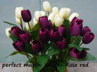 silk tulips - 5pcs Decorative flower arrangements Countryside style Artificial Silk Flower branch Tulip in
