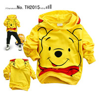 Wholesale 2013 New Fashion Spring Kids Boys Girls Cartoon Long Sleeves Yellow Winnie the pooh T shirts Hoodies