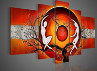 More Panel Oil Painting Abstract Hand-painted Hi-Q modern wall art abstract home decorative figure oil-painting--orange red bodybuilding double 5pcs set framed