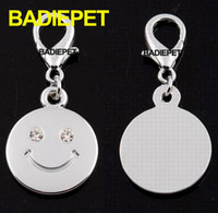 Wholesale Luxury SWAROVSKI Crystal Smile Face Dog Pet ID Tag Dog Jewelry Dog Silver Tag Dog Supplies