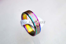 Stainless steel Rings Rainbow Colors Band 50pcs Mixed Pattern Cute Women ring #R170 Jewelry New