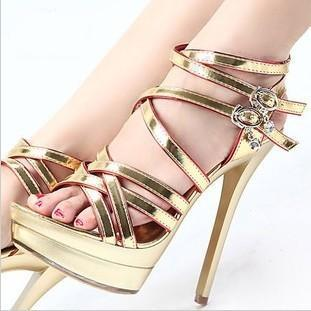 2013 Gold High Heeled Shoes Fashion Sexy Strap Cross Ultra High ...