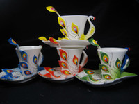 Wholesale Excellent High Quality ml Enamel Porcelain Coffee Mugs Gold Peacock Coffee Cups