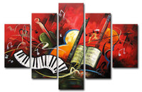 More Panel modern painting decorative - Hand painted Hi Q modern abstract decorative oil painting on canvas symphonic music set framed