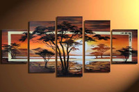 More Panel africa mountains - Hand painted Hi Q modern landscape oil painting on canvas africa mountain forest in sunset set