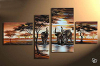 More Panel animals drinking water - Hand painted modern landscape oil painting on canvas elephants drinking water by the lake set